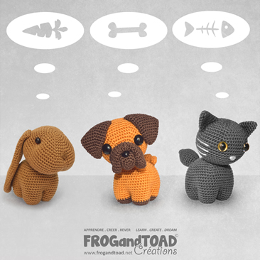 Animaux de Compagnie / Pets - Amigurumi Crochet - Chat Chien Lapin / Cat Dog Rabbit - FROGandTOAD Créations