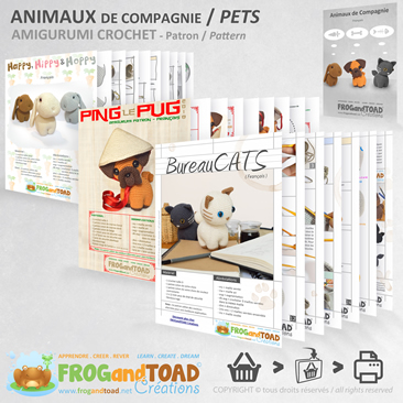 Animaux de Compagnie / Pets - Amigurumi Crochet PDF - Chat Chien Lapin / Cat Dog Rabbit - FROGandTOAD Créations