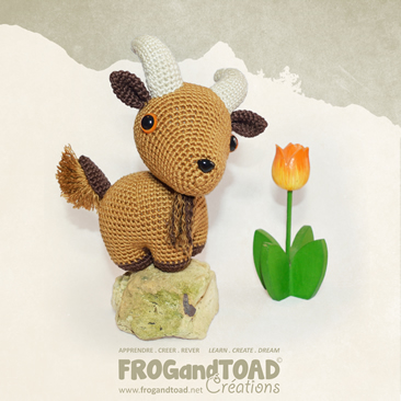 Auguste - la chèvre / the goat - Amigurumi Crochet - Patron / Pattern - FROG and TOAD Créations