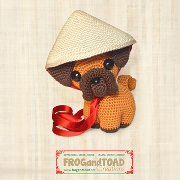 PING le pug / the pug - Année Chinoise du chien / Chinese year of the dog - Amigurumi Crochet - FROGandTOAD Créations