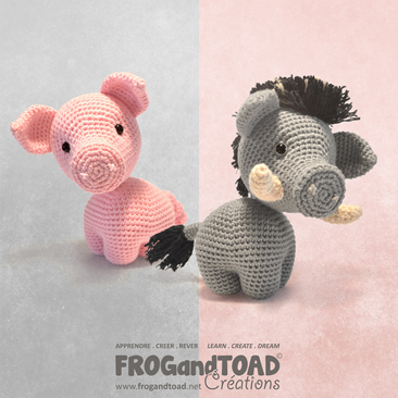 Albert - le cochon / the pig - Romuald - le sanglier / the boar - Amigurumi Crochet - Patron / Pattern - FROG and TOAD Créations