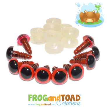 10mm Yeux de Sécurité Rouge / Red Safety Eyes FROGandTOAD Créations