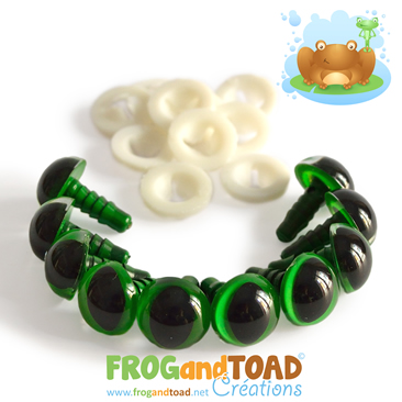 12mm Yeux de Sécurité Animaux Vert / Green Animal Safety Eyes FROGandTOAD Créations