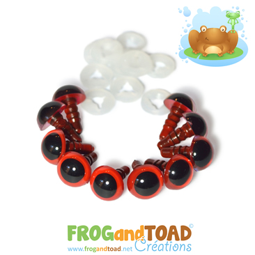 9mm Yeux de Sécurité Rouge / Red Safety Eyes FROGandTOAD Créations