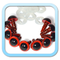 Yeux de sécurité Safety eyes - 9mm Rouge Red - FROGandTOAD Créations